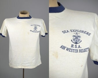1950s Boy Scouts Of America Sea Explorers B.S.A. Nor'Western Regatta Ringer T Shirt