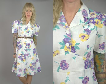 40s Cotton Day Dress Pansy Floral House Dress