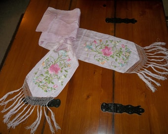 """Antique Pink CANTON Silk Piano Shawl...HUGE 93"""" Long Including Fringe...Perfect Condition...FREE Shipping"""