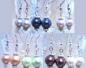 Colored Pearl & Silver Dangle Earrings, Handmade Original Fashion Jewelry, Classic Style Sophisticated Simple Elegant Wedding Accessories