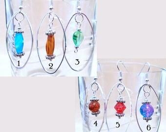 Glass Bead & Silver Oval Hoop Earrings, Glass Bead Jewelry, Silver Hoop Earrings, Handmade Beaded Jewelry, Long Earrings, Ladies Gift Idea