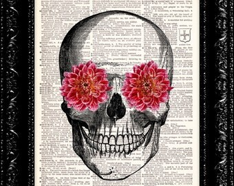 Pink Flower Skull Vintage Dictionary Print Vintage Book Print Page Art Upcycled Vintage Book Art