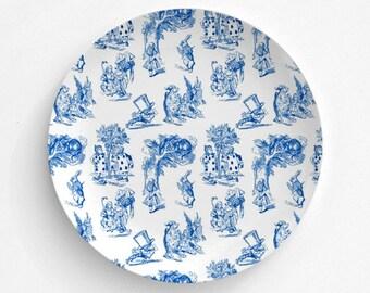"Alice In Wonderland, Blue Toile Design, Melamine Plate, Kitchen, decorative plate, gift, Dinner Plate, 10"" plate, Picnic, Alice Cheshire Cat"