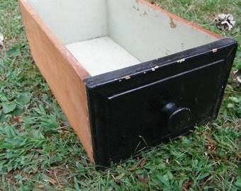 Vintage Black Wooden Drawer Box