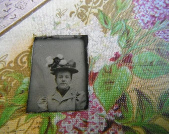 Gem Miniature Tintype Photo - Young Girl Wearing Large Floral Hat