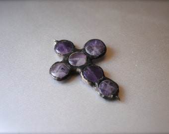 Purple stone soldered pendant cross