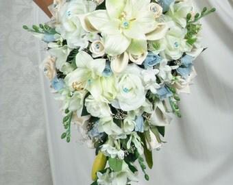 PRINCESS BLUE Bridal Bouquets Bouquet Package Wedding Flowers Silk Floral Bridesmaid Groom Boutonnieres Corsage Flower Girl