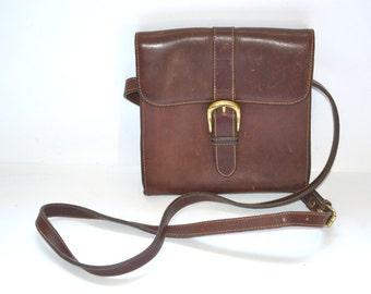 80s  G. H. Bass and Co. Handbag, Cross-Body Bag, Shoulder Bag, Brown Leather flap Satchel messenger bag Back to school