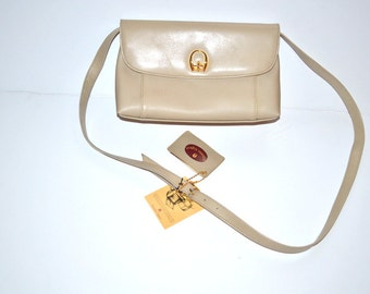 Vintage 80s beige non leather purse by Etienne Aigner hand crafted designer crossbody shoulder bag travel bag NOS with the tag Gift for her
