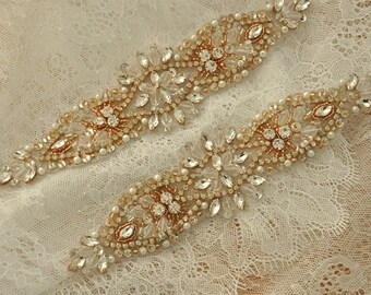 SALE Rhinestone Applique Crystal Beaded Bridal Applique for Bridal Sash Wedding Belt