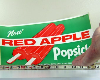 Vintage Popsicle Paper Sign from 1950s Ice Cream Shop Red Apple