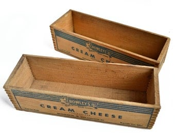 pair vintage Crowley cheese boxes dovetail box, vintage advertising, rustic organizer, old wood box