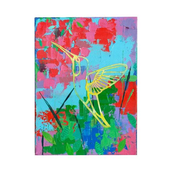 Hummingbird art original Painting 9x12 impasto garden art by Elizabeth Rosen