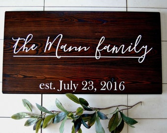 Custom Family name signs. Painted on barnwood
