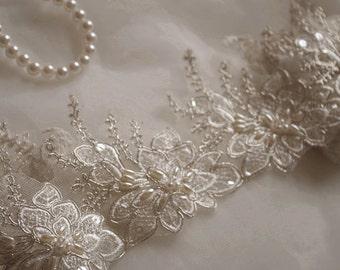 Ivory beaded Alencon Lace Trim CGDZ81B