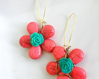 Wire Wrapped Pink  and Turquoise Stone Flower Earrings