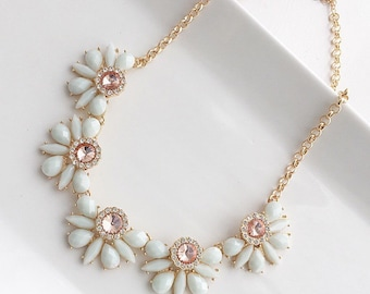 Seafoam and Coral Necklace Gold Setting Mint and Coral Wedding Necklace