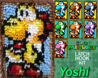 Super Mario World: Yoshi - Latch Hook Kit - DIY Latch Hook 6*8 Inches