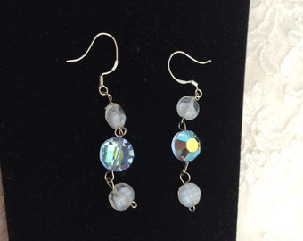 Sky Blue EARRINGS, Silver Hoop Stamped, Silver Wire Wrapped, Glass & Crystal Item No. S026