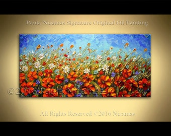 "48"" Wild Flowers Field Original Abstract Modern Contemporary Floral art on canvas by Paula Nizamas Thick Knife Paint Wall Decor"