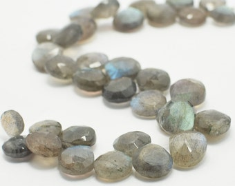 Labradorite Heart Briolettes, Labradorite Briolette Faceted Flat Drops, 8x8-9x9 mm, 8 Beads, Destash Gemstones #104