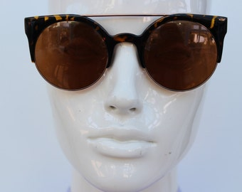 Vintage Cat Eye Sunglasses - Womens Round Circle Aviator Bar Sunglasses - Retro Sunnies - tortoiseshell Glasses -  Unworn New Vintage