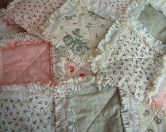 Patchwork lap rag quilt, blanket, throw. Moda cottons, cream, blue-grey, pink.  Ivory fleece back. Ready to ship.
