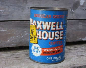 Vintage Kitchen Decor Coffee Can Maxwell House Metal Container Storage Display Country Farm Retro Kitchen Rustic Primitive Vtg Old Tin Can