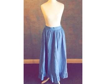 Cute true vintage LAURA ASHLEY 'Light Denim' coloured ankle length skirt