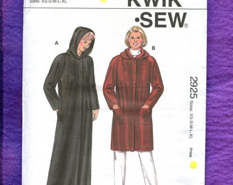 Kwik Sew 2925 Hooded  Coat Sizes XS to XL UNCUT