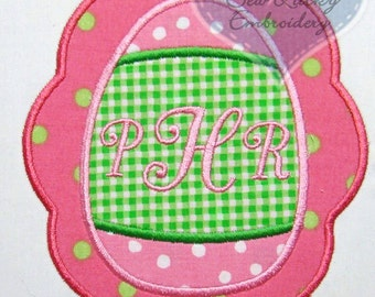 Easter Egg Monogrammed Applique Embroidered Patch , Sew or Iron on