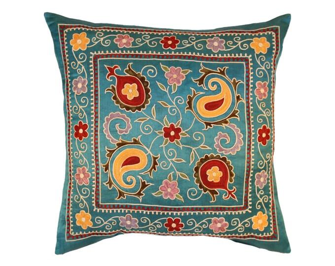 Silk Handmade Suzani Pillow Cover, msp782, Suzani pillows