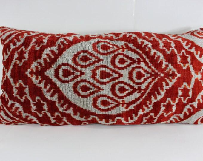 Silk Velvet Ikat Pillow Cover Lp306, Bohemian pillow, Velvet Ikat Pillow, Velvet Pillow