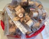 35 spools Lot of vintage wooden thread spools destash 35 pieces