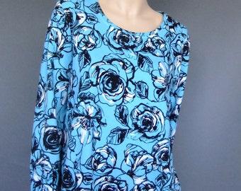 flower print sweater, 90s vintage sweater, light blue sweater