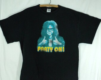 Vintage Wayne's World tee shirt, size large, black t shirt, party on, wayne and garth, 1990's, SNL, Saturday Night Live