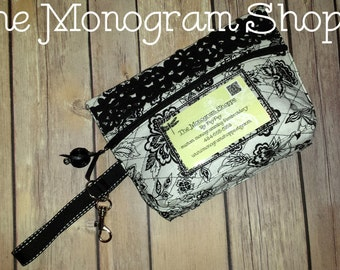 Ready To Ship! Black & White Floral, Fully Lined, Quilted Zippered Wristlet Clutch Purse Wallet, Keychain Ring, With License Picture Window
