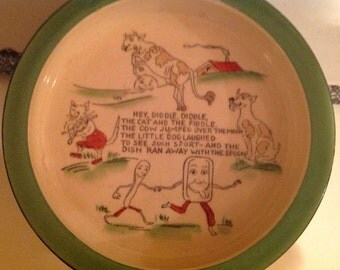Vintage Pottery Child Dish Featuring Hey Diddle Diddle The Cat and the Fiddle Poem