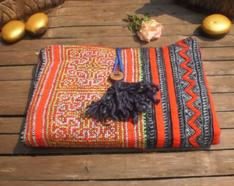 Upcycled Handmade Batik/Embroidered Hemp Tribal Textile Cluch Purse