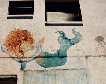 Mermaid Dolphin Photo, Graffiti Photography, Ocean Tropical Coastal Beach House Home Decor Wall Art, Travel Art, Architecture, Mural