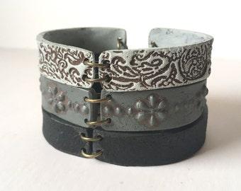 Black and Gray Bracelet, Ceramic, Jewelry, Monochromatic, simple, zen, urban, net accesories, 35, 45, 55, 65 Birthday Gift, Modern, textured