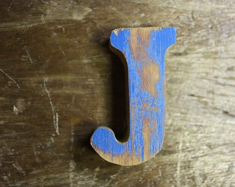 """Beach Decor Wooden LETTER """"J"""" Vintage Style Nautical by SEASTYLE"""