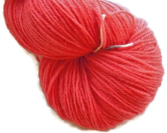 Red 2 Handdyed Corriedale Wool DK Weight Yarn, 3-ply, For Knitting, Crochet and Felting, Clear Red Hand Dyed Wool Yarn, Made in Denmark