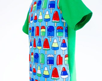 Children's t-shirt, ice-lollies - HANDMADE TO ORDER
