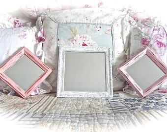 Shabby Wood Square Small Wall Mirrors Winter White Coral Petal Pinks Cottage Chic Set Of 3 READY TO SHIP