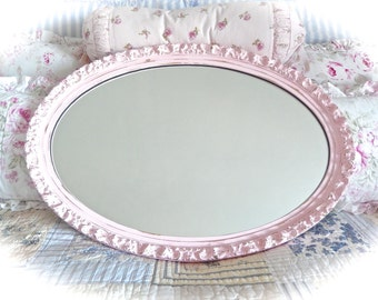 SUMMER SALE You Pick Color Custom Shabby Vintage Baroque Ornate Carved Large Oval Wall Accent Mirror Baby Girl Nursery Princess Room Chic