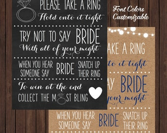 Bling Ring Bridal Shower Game Sign (Custom Colors Available)