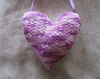 Handmade Heart Crochet Lace Varigated PURPLE Doillie Up-cycled Vintage Materials Valentines, Love