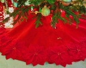 "Clearance: 65"" Red Burlap Christmas Tree skirt with gold threads and red felt flowers. New for 2016. *FREE SHIPPING*"