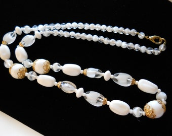 """Beaded Necklace 24"""" Milk Glass and Givre Glass Gold Tone"""